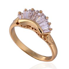 GUSSIARRO HOT Trendy Gift CZ Fashion Jewelry  Gold-Color White Cubic Zirconia Round Wedding Ring For Women  Free Shipping