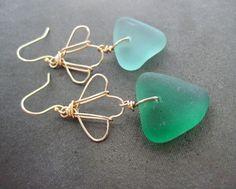 Hawaiian Sea Glass Shell Earrings by PoluMoana on Etsy, $42.00