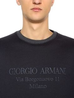813cd94e3d5e GIORGIO ARMANI, Logo embroidered cotton blend sweatshirt, Navy grey,  Luisaviaroma