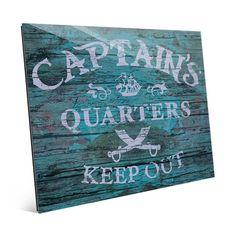 Click Wall Art 'Captain's Quarters - Teal' Textual Art on Plaque Size: