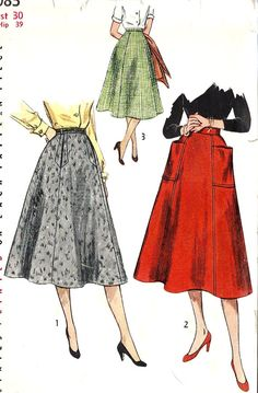 1950s Misses Skirt Vintage Sewing Pattern