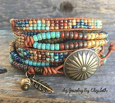 Beaded Wrap Bracelets For Women/ Native American Style Mens Bracelet/ Seed Bead Leather Wrap Bracelet. Beaded Wrap Bracelets, Bohemian Bracelets, Seed Bead Bracelets, Seed Beads, Leather Bracelets, Jewelry Patterns, Beading Patterns, Beading Ideas, Jewelry Ideas