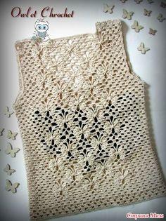 Мой топ 'Полёт бабочек' с ажурной спинкой (много фото) - Вязание - Страна Мам Black Crochet Dress, Crochet Jacket, Crochet Cardigan, Crochet Blouse, Crochet Motif, Crochet Stitches, Crochet Top, Crochet Patterns, Crochet Baby