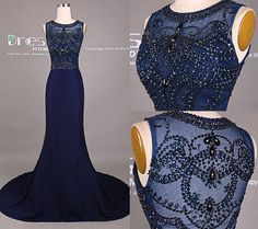 Navy Blue Beading Mermaid Prom Dress/Long Prom Dress/See Through Back Prom Dress/Navy Prom Dress Mermaid/Prom Dress Long/Evening Dress DH415
