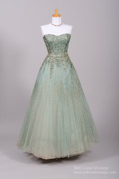 1950's Sea Foam Green Sequin Encrusted Vintage Evening Ball Gown : Mill Crest Vintage