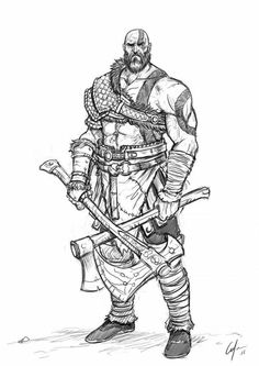 How to draw Kratos from God of War . Step by Step Tutorial How to draw Kratos from God of War . Step by Step Tutorial Fantasy Character Design, Character Drawing, Character Concept, Concept Art, Kratos God Of War, Arte Assassins Creed, Vikings, War Tattoo, Viking Art