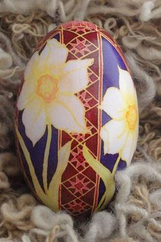 Pysanky Goose Egg Daffodils made to order by DragonflyTrail, $75.00