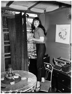 Late snapshot print photo woman with long hair bangs pants jeans sandals shirt casual day wear sportswear bomb goes off in apartment at 1034 Hilldale Avenue. Dorothy Adamson, was dining at a nearby cafe when the bomb exploded. Beat Generation, Style Beatnik, Beatnik Fashion, Paris Vintage, Retro Vintage, Vintage Hair, Vintage Photographs, Vintage Photos, 1950s Fashion