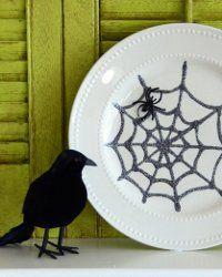 Creepy Crawly Spiderweb Plate | AllFreeHolidayCrafts.com