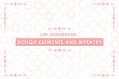 100+Handdrawn Wreath&Design Element by Haidi Illustration on @creativemarket