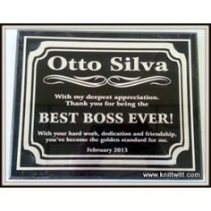 """Best Boss Ever! Marble Plaque - Use promo code """"JOAN2013 at knittwitt.com"""" for 25% off your order!"""