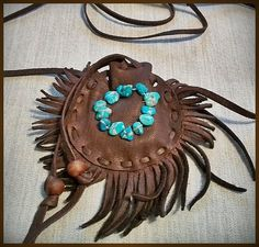 Brown Buckskin Pouch Turquoise Circle Tribal by aboriginalsbykate