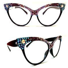 Half and Half Crystal Cateye Sunglasses