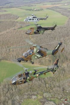 Gazelle, Tiger, Cougar and Caracal helicopters of French Air Force