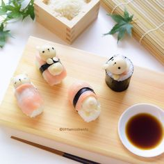 Teddy Bear Sushi - Little Miss Bento Snacks Japonais, Cute Food, Yummy Food, Kawaii Cooking, Cute Bento Boxes, Japanese Candy, Japanese Food Art, Japanese Rice, Japanese Sushi
