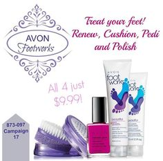 Take your feet to the spa with this collection from Avon Footworks line!  Shop now at my eStore! https://dmitchell2071.avonrepresentative.com/ #Avon #footcare #footspa #sale #footworks