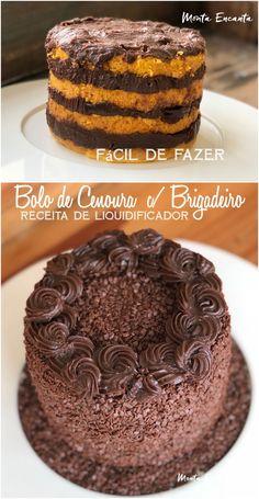 Fala a verdade, é difícil encontrar alguém que não queira um pedaço de bolo de cenoura. Ainda mais se ele vier em camadas, com recheio e cobertura de brigadeiro, aí é pura covardia. #bolo #bolodecenoura #bolodecenouraebrigadeiro #bolodecenouraemcamadas #montaencanta Brazilian Carrot Cake, Gateau Cake, Mini Tortillas, Mini Cakes, Cake Recipes, Sweet Treats, Bakery, Cheesecake, Food And Drink