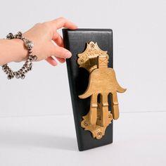 Vintage Hamsa Door Knocker | Moroccan Brass Hand of Fatima Hand Of Fatima, Wooden Plaques, Door Knockers, Religious Art, Hamsa, Moroccan, Brass, Doors, Antiques