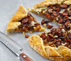 Caramelized Onion - Bacon Pie - this would be delicious while watching some football!