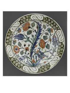 Plat aux 4 fleurs et à la grande feuille sâz - Musée national de la Renaissance (Ecouen)