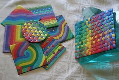 Rainbow coaster set - Mica powders give this shine to the clay | Flickr - Photo Sharing!
