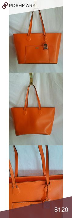 """Ralph Lauren Orange Oversized Purse Tote Leather.   Signature lining.  Zips close.  Dual handles.  Interior pockets.  Only carried twice.  Like new!!!  19"""" across, 11"""" tall. Ralph Lauren Bags Totes"""