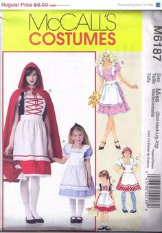 ON SALE McCalls 6187 Misses Halloween Costume Sewing Pattern, Little Red Riding Hood Cape Size S, M, L, Xl Bust 31 1/2 , 34, 36, 38, 40, 42