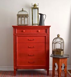 Red Tallboy Dresser - Painted with Annie Sloan Chalk Paint Mix