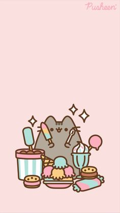 Funny Phone Wallpaper, Cat Wallpaper, Kawaii Wallpaper, Cute Animal Drawings Kawaii, Cute Drawings, Cute Wallpaper Backgrounds, Cute Cartoon Wallpapers, Pusheen Love, Images Kawaii