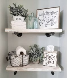 "1,525 Likes, 113 Comments - Chelsea  (@blessed_ranch) on Instagram: ""Hey! Hope you all had a great day! Sharing my DIY bathroom shelves for some fun Monday tags! We…"""