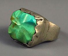 18g CHUNKY C. 1940s Zuni INGOT Sterling HAND CARVED FOX Turquoise Ring Sz 11.5