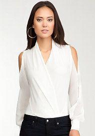 bebe Long Sleeve Silk Wrap Bodysuit