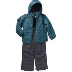 Iceburg Boys' Performance Insulated 2 Piece Snowsuit Jacket and Ski Bib Pants Set, Available in 5 Prints and 10 Colors, Size: 4/5, Blue