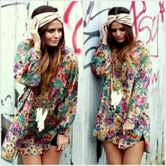 Floral tunic hippie chic hat tank top vintage soul beauty flower power ~ Too.... Cute! ♥