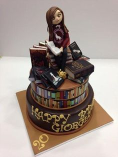 Chocolate cake, chantilly cream and black cherry…. for a Special One! Cupcake Cake Designs, Cupcake Cookies, Fancy Cakes, Cute Cakes, Lawyer Cake, Library Cake, Bolo Harry Potter, Luxury Cake, Book Cakes