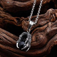 Vintage Dragon's Paw Black Stone Ball Stainless Steel Pendant Necklace 50 Centimeters Stainless steel Agate unique paws ring,fashion boutique,meticulous hand-carved and hand-polished Dragon Jewelry, Fashion Boutique, Fashion Rings, Hand Carved, Spring Fashion, Kawaii, Stainless Steel, Pendants, Pendant Necklace
