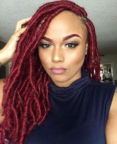 HAIRSPIRATION   In love with this bold red color on @damn.dandy's fauxlocs by  #labraider @goddessfauxlocsx ❤️ #voiceofhair ========================== Go to VoiceOfHair.com ========================= Find hairstyles and hair tips! =========================