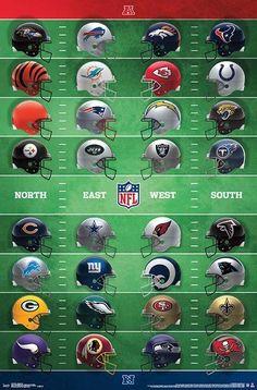 NFL Football Helmets Official Wall Poster (All 32 Team Logos) - Trends International – Sports Poster Warehouse Nfl Football Helmets, Football Team Logos, Nfl Chiefs, Football Memes, Football Season, Broncos, Football Prayer, Nfl League, Official Nfl Football