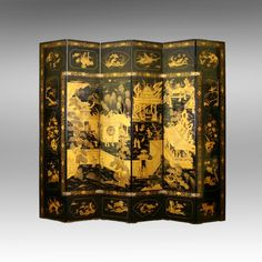 An 18thC six-fold royal chinese lacqeur paravent (screen)