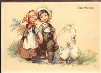 Kinder Child Enfants Gaense Paare Blumen Kategorie. Kinder Alte Ansichtskarten