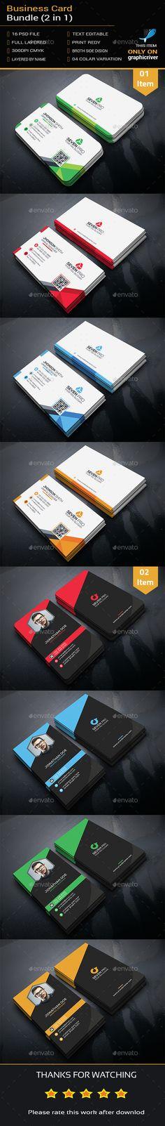 Business Card Template PSD Bundle. Download here: https://graphicriver.net/item/business-card-bundle-2-in-1/17387101?ref=ksioks