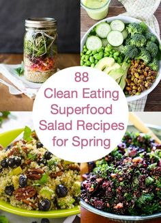 88 Clean Eating Superfood Salad Recipes for Spring -- Delicious healthy salads from all over the net to get you in shape for bikini season.