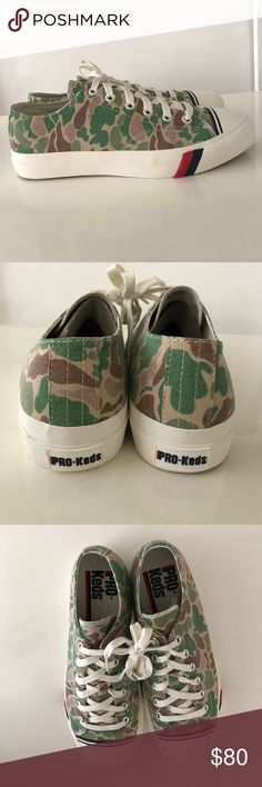 Pro Keds Royal Lo American Green Camo US size 10.5 NWOT: Pro Keds Royal Lo American Green Camo size 10.5 There were 3 versions of camo (American, British, and Japanese), and this is the American camo version. These shoes were made in extremely limited quantities and were only sold in a few boutiques around the globe. Sold out. Pro-Keds Shoes Sneakers