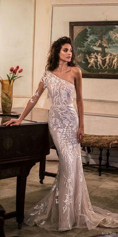 julie vino fall 2018 havana long sleeves one shoulder full embellishment elegant sheath wedding dress chapel train (15) mv -- Julie Vino Fall 2018 Wedding Dresses