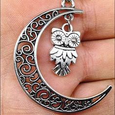 Owl in moon necklace silver Owl inside a moon necklace Jewelry Necklaces