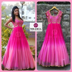 Here is the Pink LongFrock Girls all time Favorite Color is back in MugdhaArtStudioProduct code : Order with us :Please reach out 9010906544 (whatsapp)For Call: 8899840840 (IVR) 25 January 2017 Kurta Designs, Half Saree Designs, Kurti Designs Party Wear, Long Gown Dress, Frock Dress, Anarkali Dress, Saree Gown, Indian Long Dress, Indian Gowns Dresses