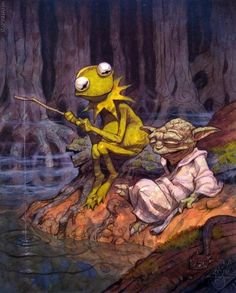 This unlikely but perfect juxtaposition between Kermit and Yoda was painted for the Star Wars, Visions, a collection of Star Wars images created by a wide variety of artists from many genres. Description from arrestedmotion.com. I searched for this on bing.com/images