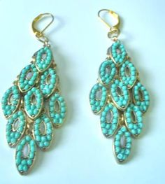 Turquoise gold-plated Chandelier Earrings