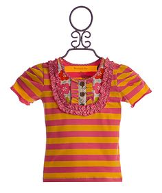 Mustard Pie Harper Tee in Pink and Yellow Stripe $38.00