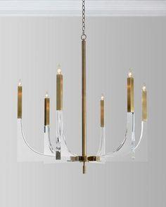 Acrylic Brass Finish Chandelier, 6 Lights
